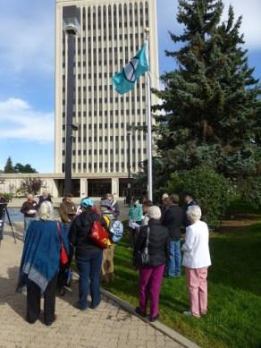 Peace Flag flying at Regina City Hall September 18th, 2015