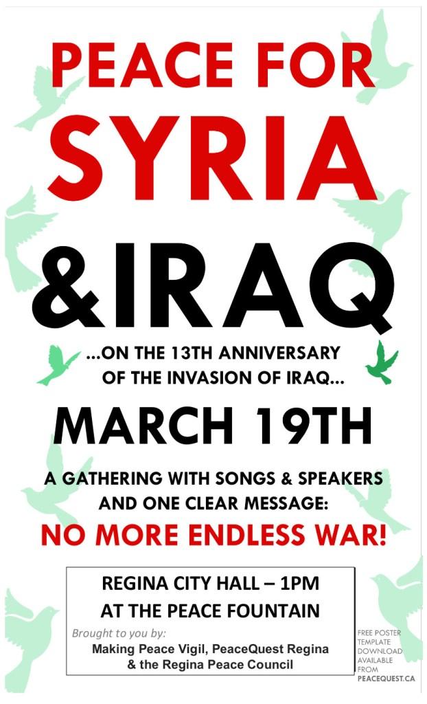 Peace for Syria Rally Regina