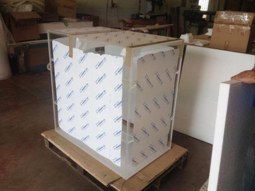 Fish tank ready for shipping
