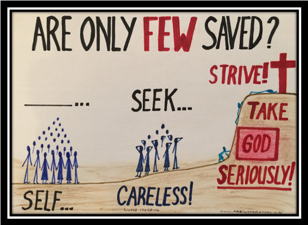 strive to enter; ye must be born again; are only few saved; luke 13:24