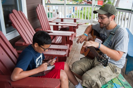 main lodge porch music overnight boys summer camp new england