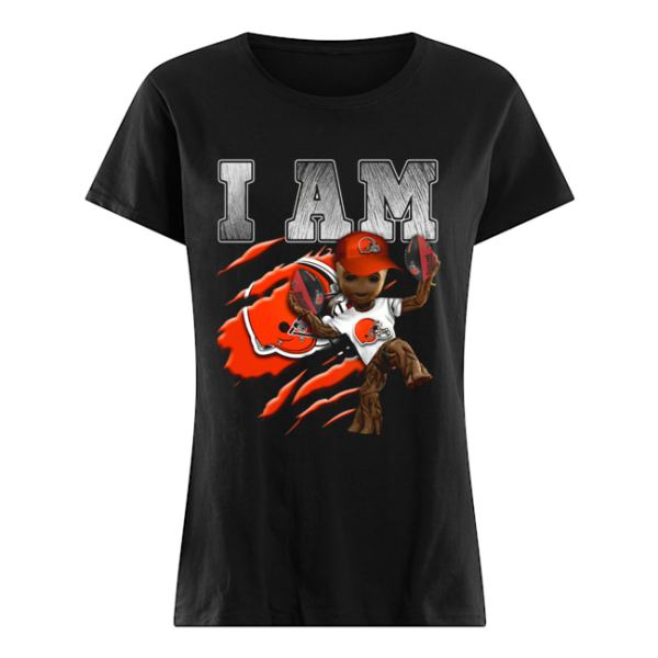 Baby Groot I Am Cleveland Browns  Classic Women's T-shirt