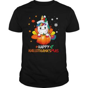 Unicorn Happy Hallothanksmas shirt