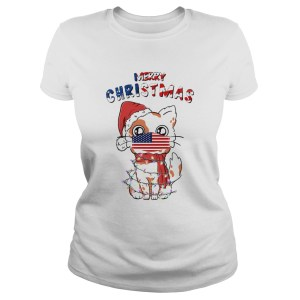 Merry Christmas 2020 Cat Wearing American Flag Face Mask  Classic Ladies