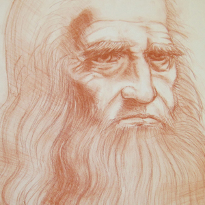 DaVinci Self-Portrait (red conte on paper)
