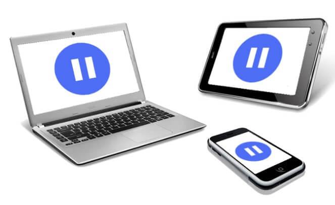 複数端末画面に表示された停止ボタン