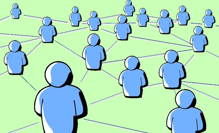 ネットワークで繋がれた人のイラスト