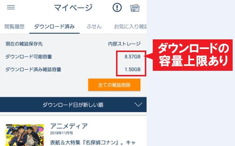 ダウンロード可能容量を示す画像