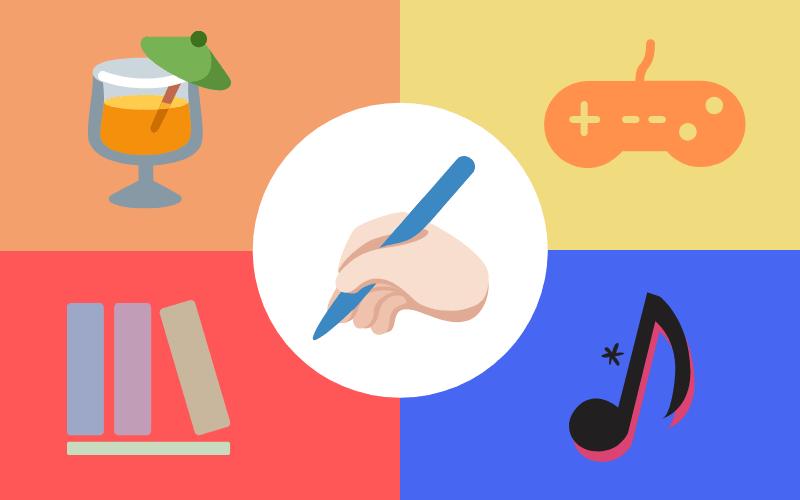 4ジャンルと手にペンを持ったイラスト