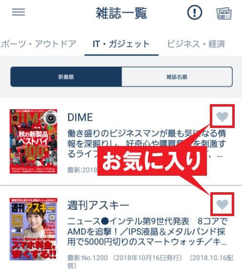 雑誌横にあるハートマークを指す画像
