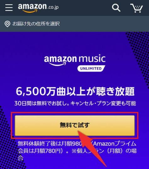 Music Unlimitedの登録手順1:「無料で試す」をタップ