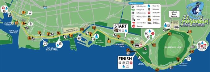 ホノルルハーフマラソン・ハパルア2017のコース