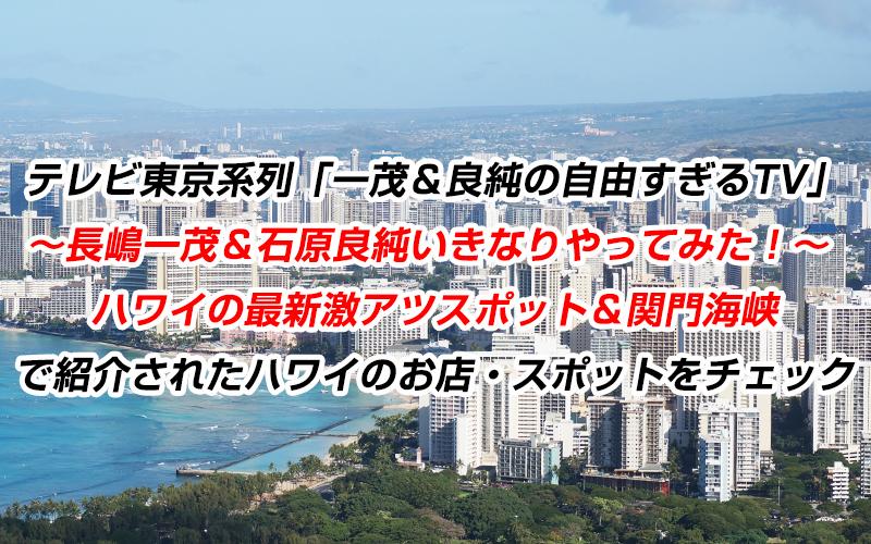 テレビ東京系列「一茂&良純の自由すぎるTV|長嶋一茂&石原良純いきなりやってみた!ハワイの最新激アツスポット&関門海峡」で紹介されたハワイのお店・スポットをチェック