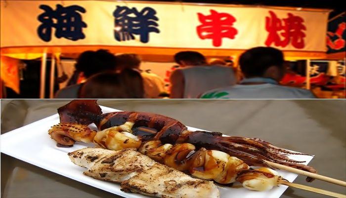お祭りの屋台 海鮮串焼き