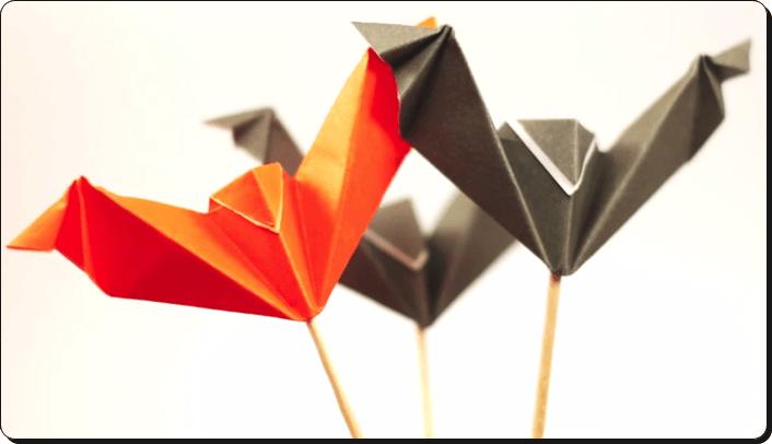 ハロウィン 折り紙 コウモリ4