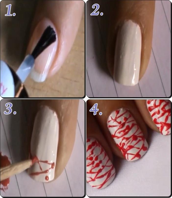 ハロウィンネイル 血のネイル1 簡単なやり方