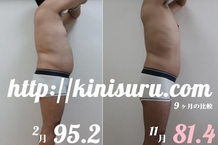 ダイエット9ヶ月目の比較画像 全身横