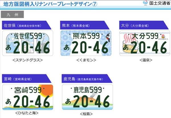 図柄入りナンバープレート【九州地方】