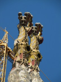 The spires are all mosaic tile at the top.