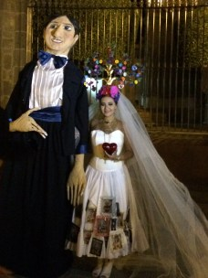 Bride to be with puppet groom