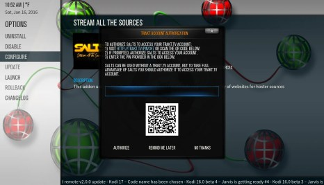 Kodi SALTS Trakt.tv Authorize Code