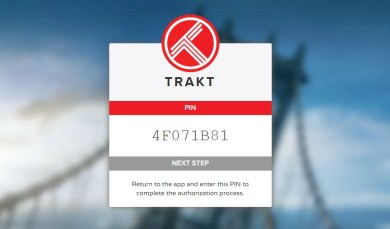 Kodi SALTS Trakt.tv Authorize PIN