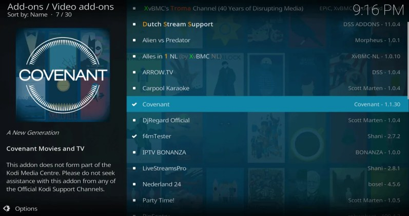 Select Covenant > Install