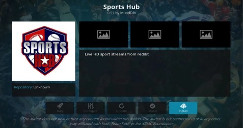 Install SportsHub Add-on