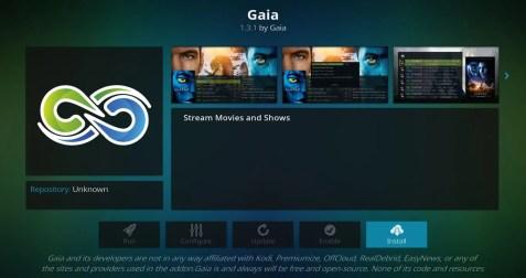 Gaia Kodi install