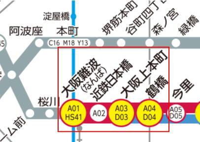 近鉄路線図大阪難波~鶴橋間印付き