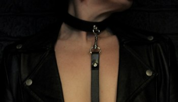 Collar and leash on Molly
