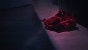 Discarded pair of red panties