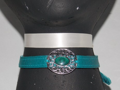 Leather Strap Collar - Teal