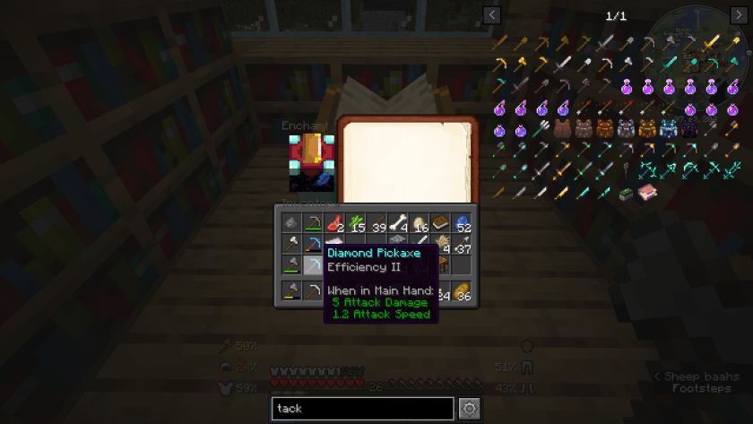 Tooltip for a second Diamond Pickaxe enchanted with Efficiency 2