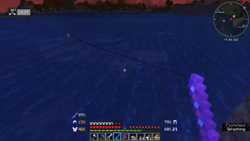 Fishing rod into the water, some bubbles around it, the sky is reddish as the sun is setting.