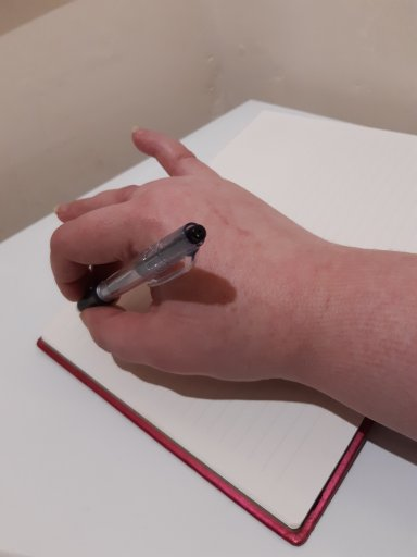 How I hold a pen with my pinky finger sticking out. Caused by Reflex Sympathetic Dystrophy.