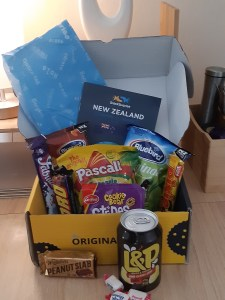 Box showing New Zealand snacks, sent by SnackSurprise. CCL applies. Please give credit.