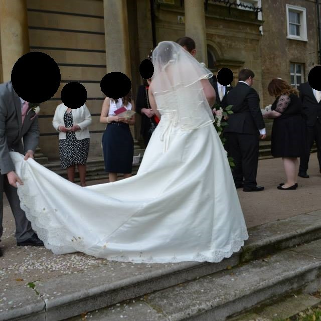 The back and train of my wedding dress