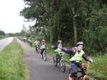 P5 cycling to Coastal School each week