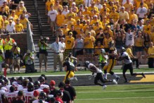 Jake Rudock runs for the end zone in the 4th quarter scoring his first rushing touchdown as a Hawkeye.
