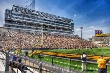 Fans fill the Kinnick west grandstands for the 2014 edition of the annual Spring Game.