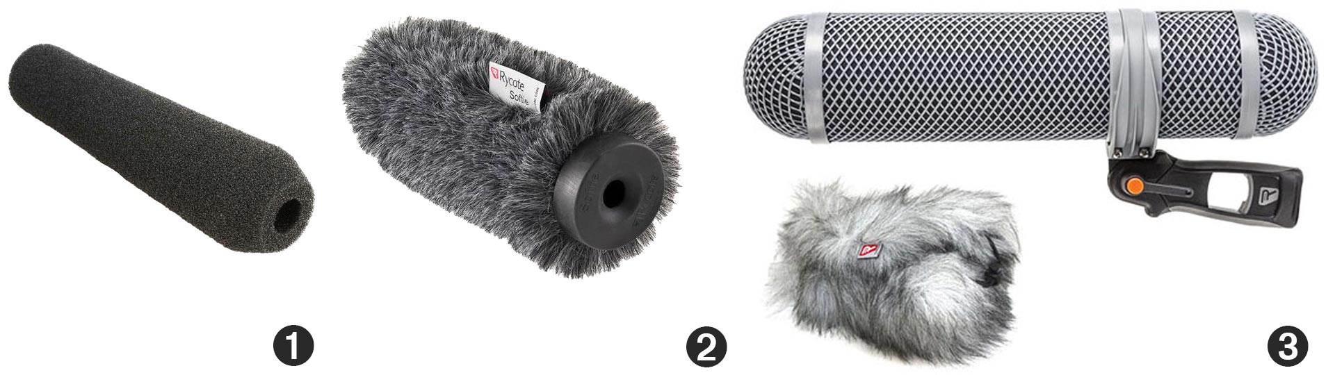 1. Foam Windshield (image); 2. Rycote Softie (image); Rycote Modular Windshield (image)