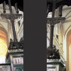 Left and Right Penchant Cathedral of Saint Corentin of Quimper, Cournouaille, France © Prosper Jerominus 1999