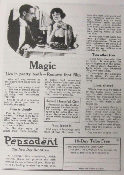 Jedna zpierwszych reklam Pepsodent wwykonaniu Hopkinsa