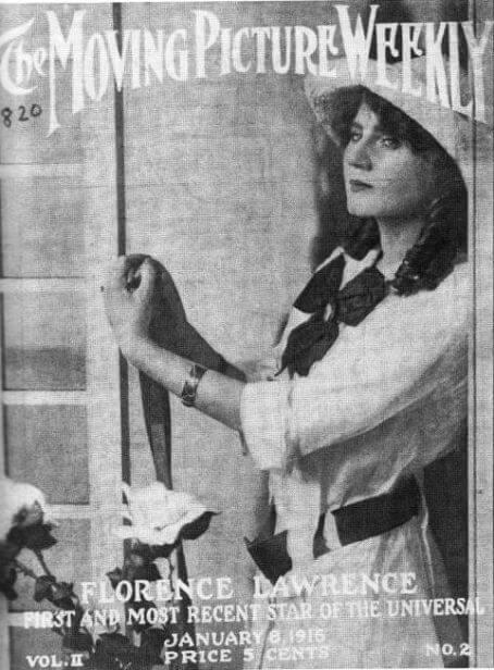 """Początki marketingu filmowego toreklama prasowa. Florence Lawrence naokładce """"Movie Picture Weekly"""" (wcześniej Universal Weekly) promowana w1916 jako """"pierwsza gwiazda Universal""""."""