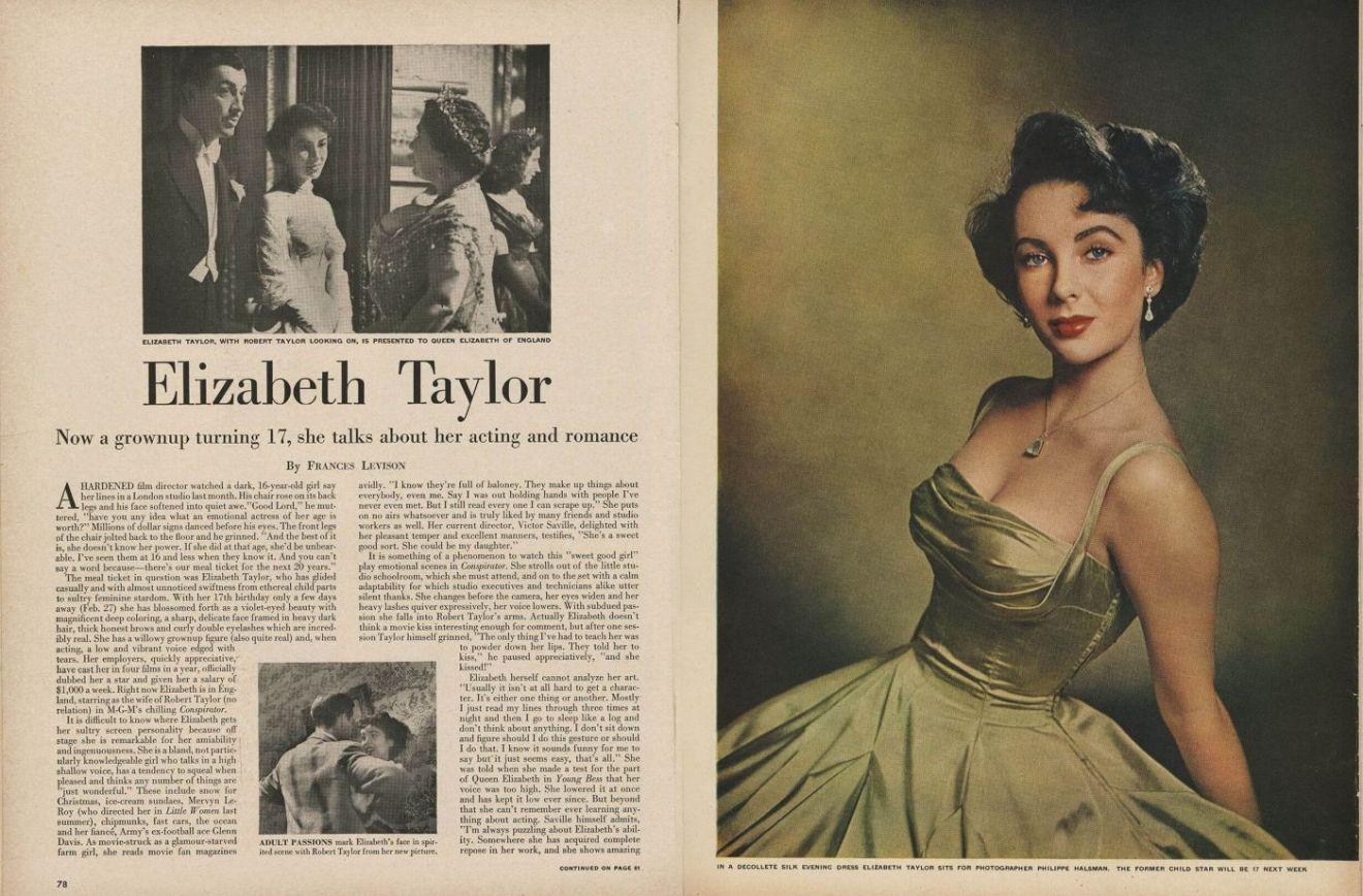 Elizabeth Taylor ma 17 lat. Wycinek zgazety.