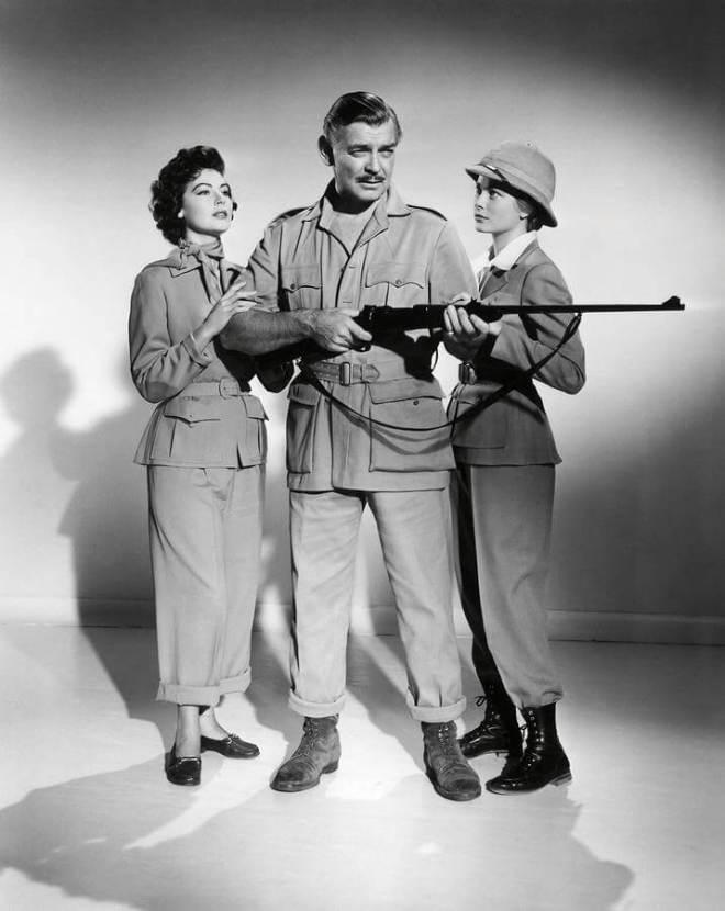 Ava Gardner, Clark Gable, Grace Kelly wsesji promującej Mogambo