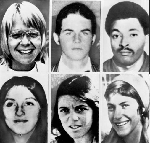 Członkowie SLA: nagórze: Camilla Hall, Willie Wolfe, Donald DeFreeze, nadole: Angela Atwood, Nancy Ling Perry, Patricia Soltysik