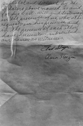 Zdjęcie testamentu Alberta Cheney'a