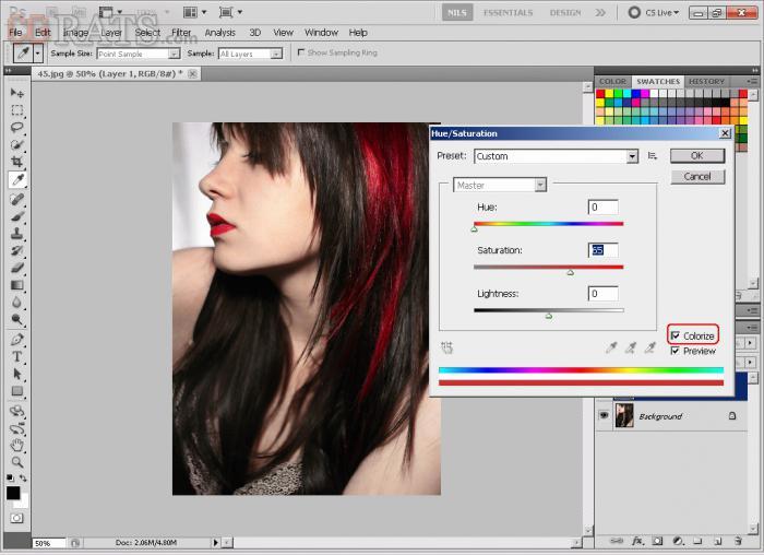 Photoshop түсті шаштары